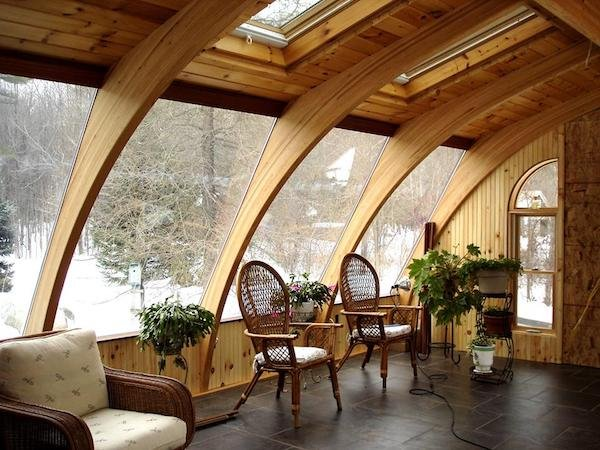 DIY Sunroom Kit with Wooden Arches and Skylights